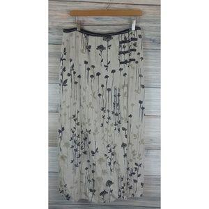 J.Jill Linen Asian Inspired Floral Wrap Skirt 12